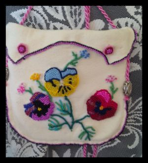 #11 White Deerskin With Pansies